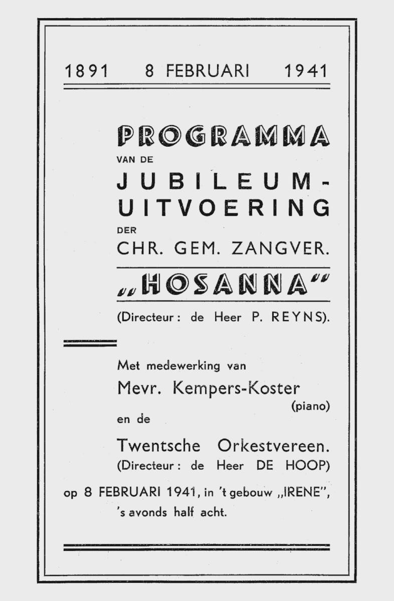 Aankondiging concert op 8 februari 1941