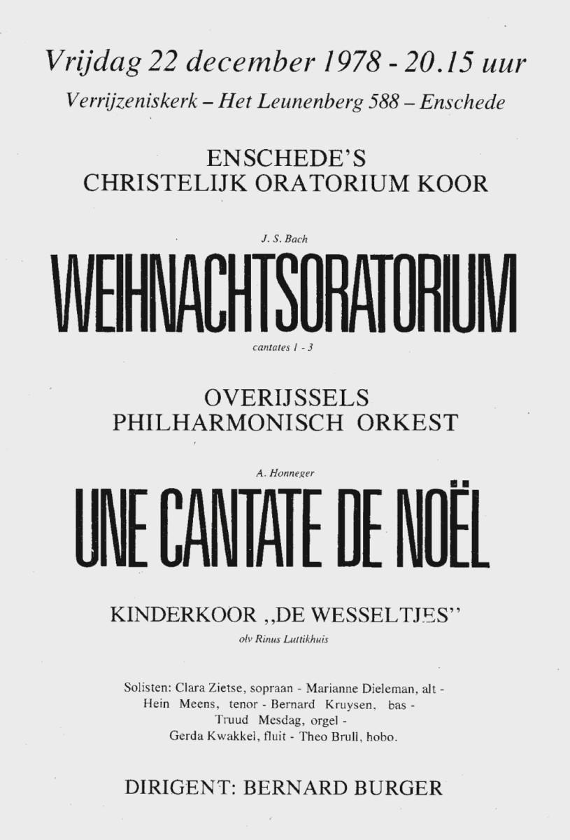 Aankondiging van concert op 22 december 1978