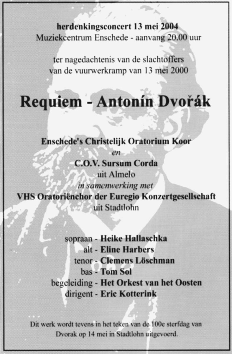 Aankondiging van het concert op 13 mei 2004 ter nagedachtenis van de slachtoffers van de vuurwerkramp van 13 mei 2000.