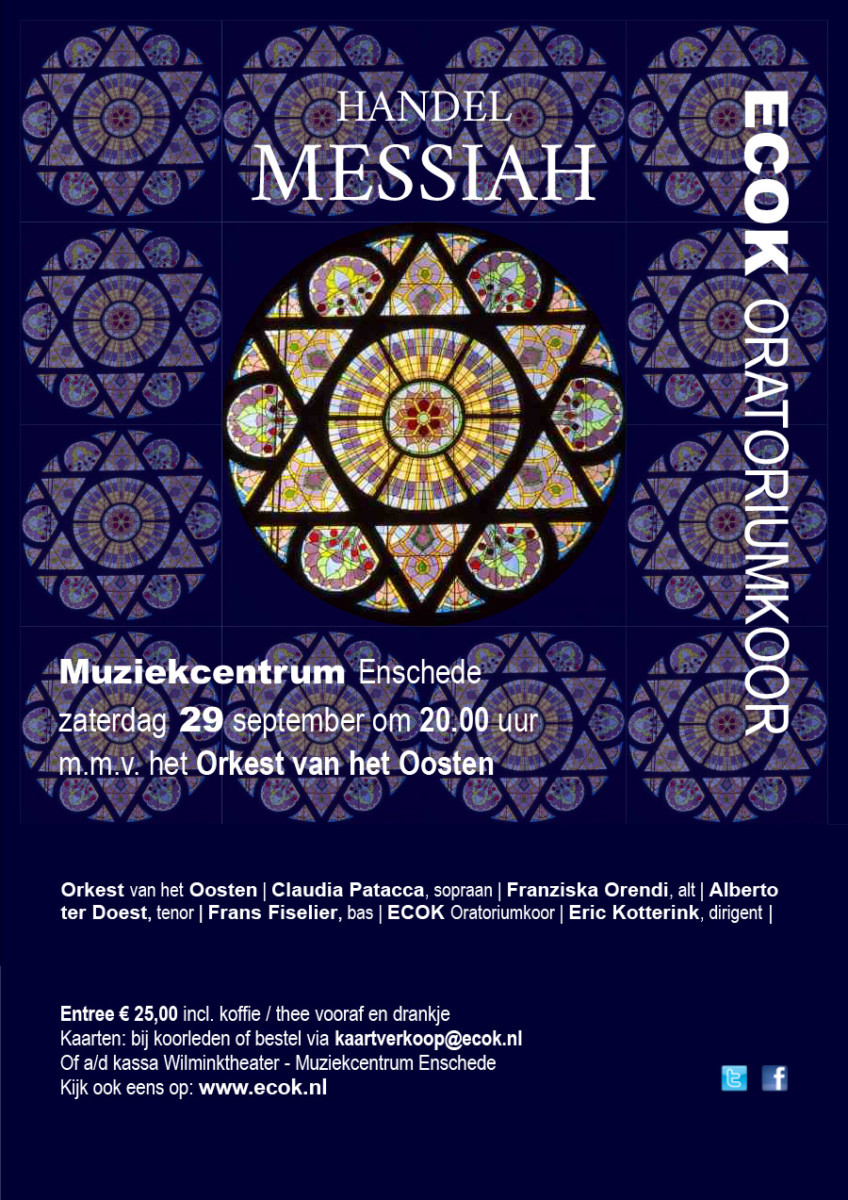 Concert 29 september Händel Messiah ECOK Oratoriumkoor Enschede
