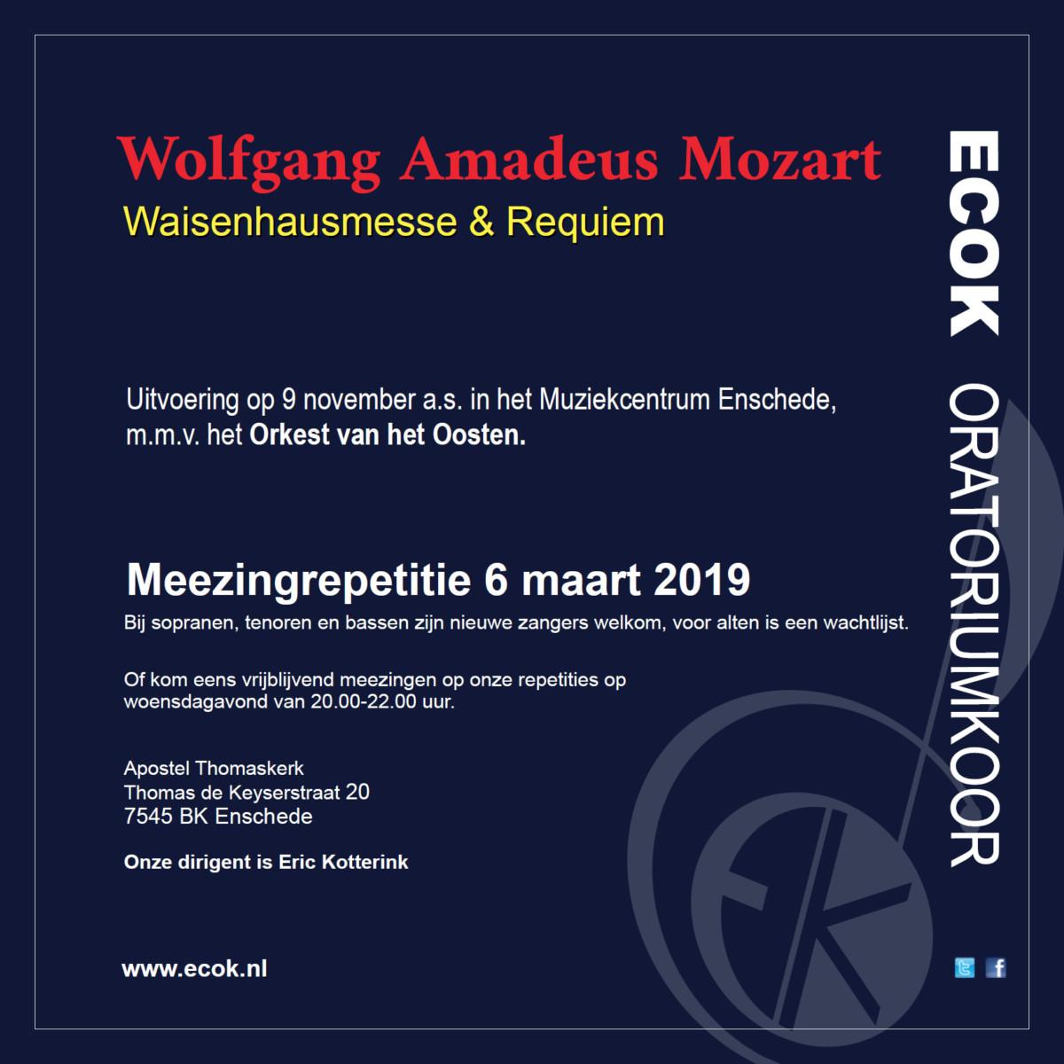 meezingrepetitie Mozart Requiem concert 2019 koor Enschede
